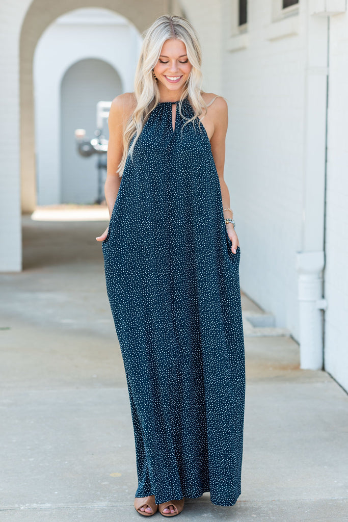 dress, maxi, long, flowy, keyhole, solid, navy, blue, casual, fall, winter, wedding, polka dot