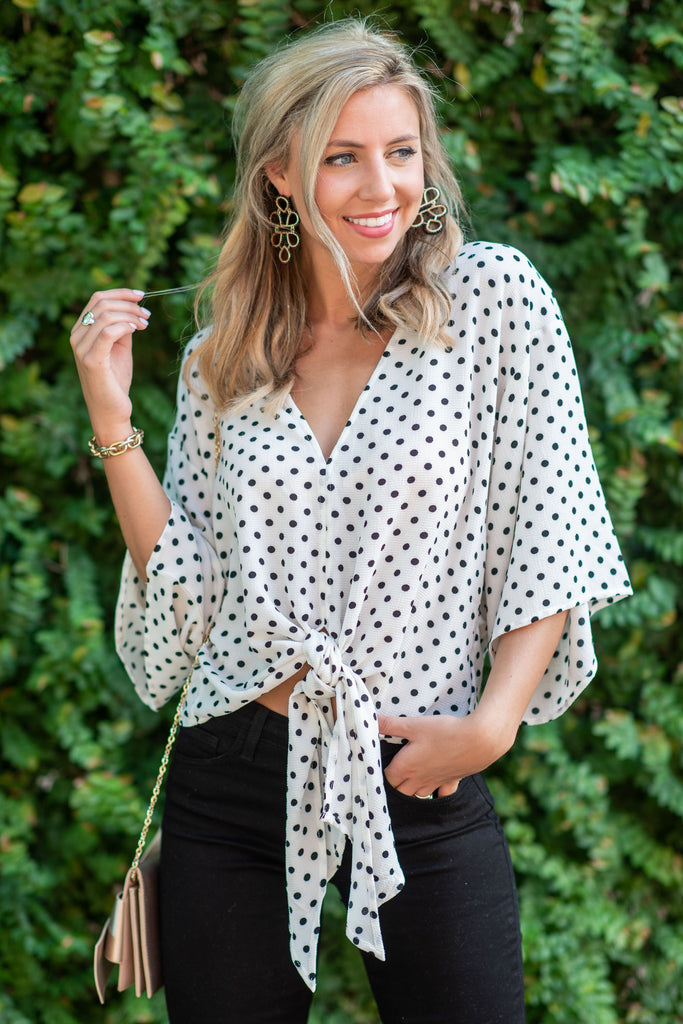 Polka Dot Pop Top, Ivory