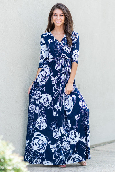 All Around Town Maxi Dress, Navy-White