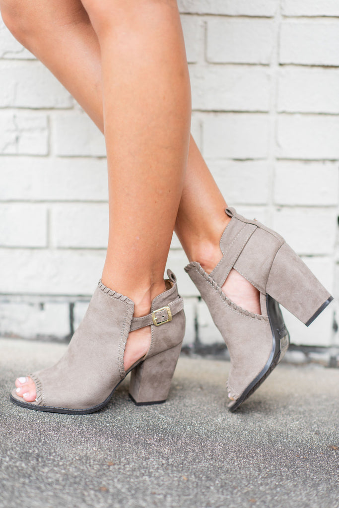 shoes, booties, fall shoes, open toed, short heels, brown, solid, taupe, buckle