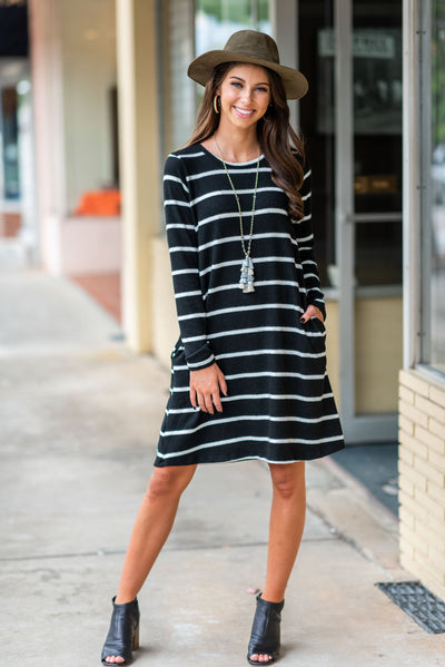 Right On Time Dress, Black-Ivory