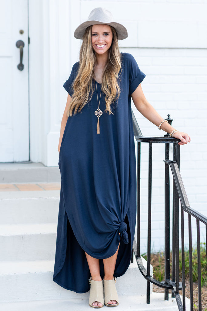 dress, maxi, long, flowy, casual, short sleeve, v neck, fall, winter, gameday, solid, navy, blue, ankle length