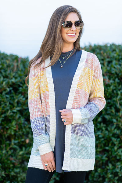 Talk You Up Cardigan, Blush-Multi