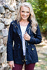 jacket, navy, blue, fall, winter, outerwear, layers, warm, long sleeve, buttons, zipper, stylish, collared, solid