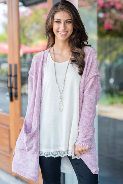 Located Comfort Cardigan, Dusty Pink