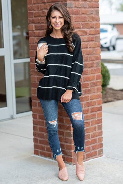 Let's Get Toasty Sweater, Black-Cream