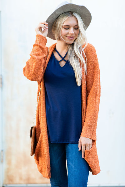 Warm Your Heart Cardigan, Terracotta