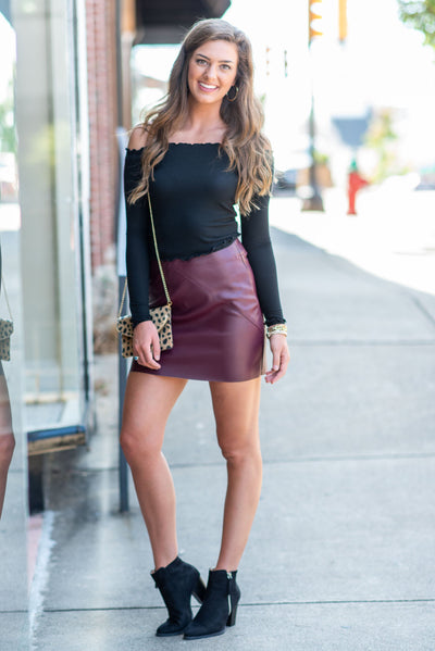 Mud Pie: The Eden Leather Skirt, Wine