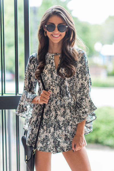 Mud Pie: The Jules Romper, Gray Python