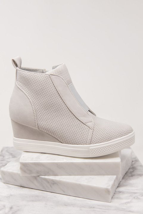 wedge sneakers, sneakers, gray, side zip closure, chic, edgy