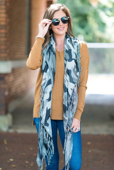 Mud Pie: Let's Hide Out Scarf, Gray