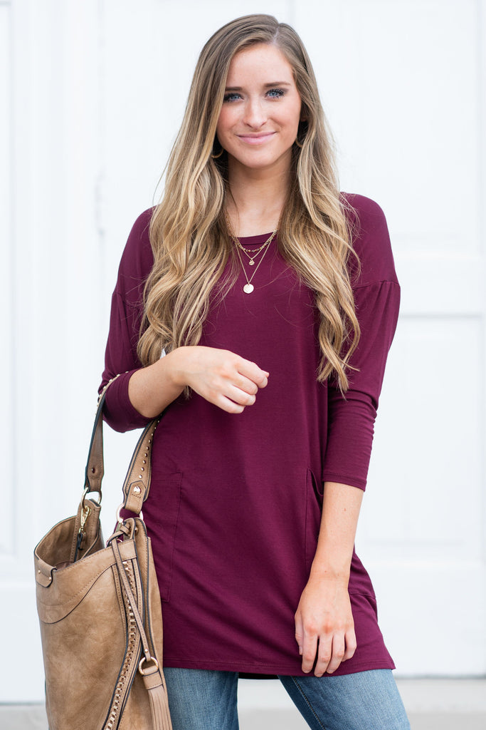 Medley In Love Burgundy Red Pocket Tunic