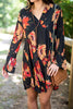 dress, short, casual, floral, flowers, long sleeve, black, red, above knee, fall, winter, collared, bright