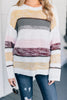 fall, sweater, winter, knit fabric, long sleeves, long sleeve sweater, round neckline, stripes, striped sweater, white, white sweater