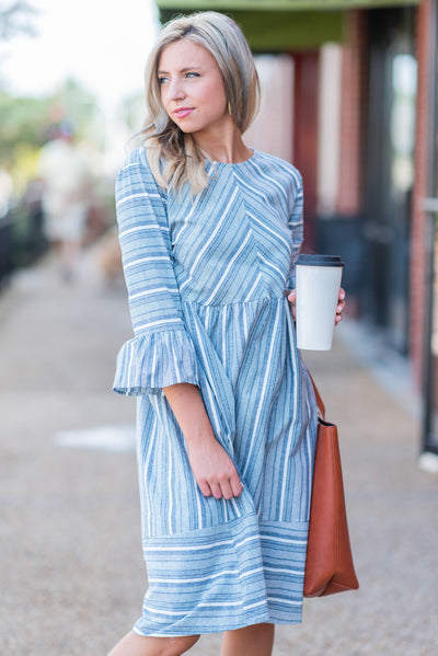 Classy Creations Dress, Denim Blue