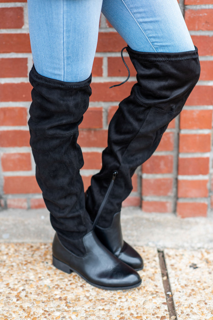shoes, boots, over the knee, black, fall, winter