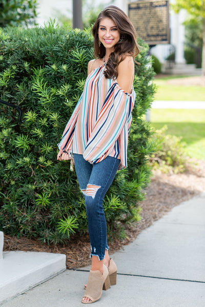 Beyond The Rainbow Top, Taupe-Navy