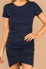 tulip cut front, ruched sides, short sleeves, dress, comfy, navy blue, round neckline