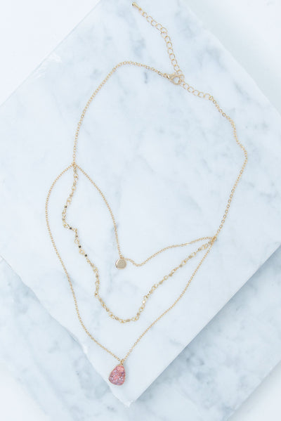 The Art Of Layers Necklace, Gold-Pink
