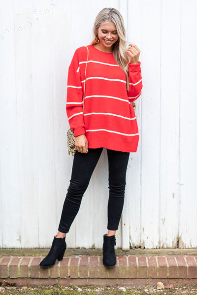 Let's Get Toasty Sweater, Red-Cream