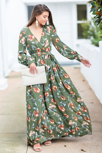 Back In Action Maxi Dress, Olive