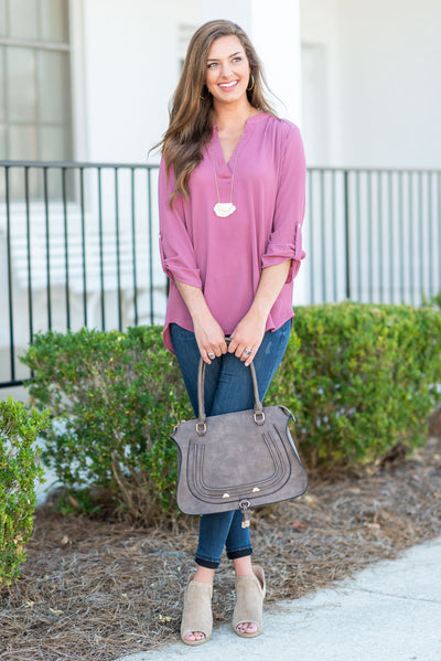 Keeping Chic Top, Dark Mauve
