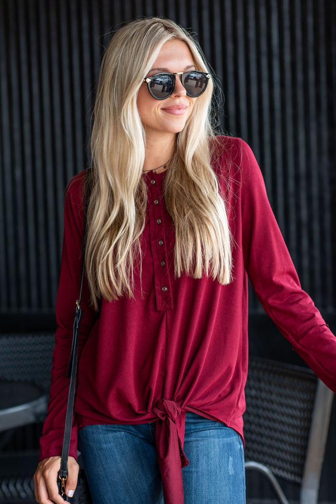 Happy Life Top, Burgundy
