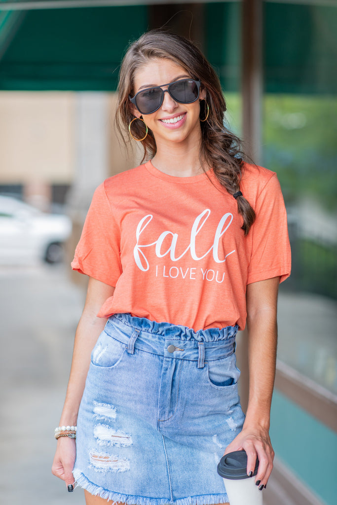 Fall, I Love You T-Shirt, Heather Orange