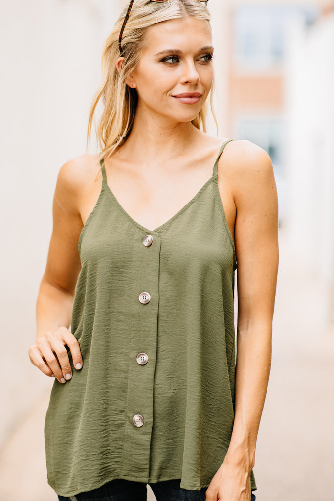 top, tank, button down tank, button down spaghetti strap top, green tank, green top with spaghetti straps, green button down tank, green button down top with spaghetti straps, generous fitting tank, green sleeveless button down top, sleeveless button down top,