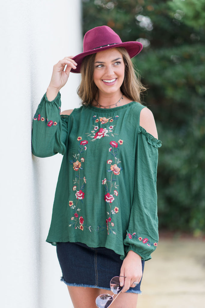 Worth Some Romance L/S Top, Hunter Green