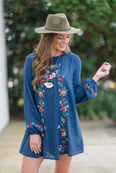Well Worth It L/S Dress, Navy