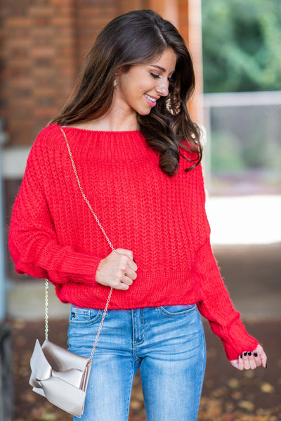 Feeling Fuzzy Sweater, Red