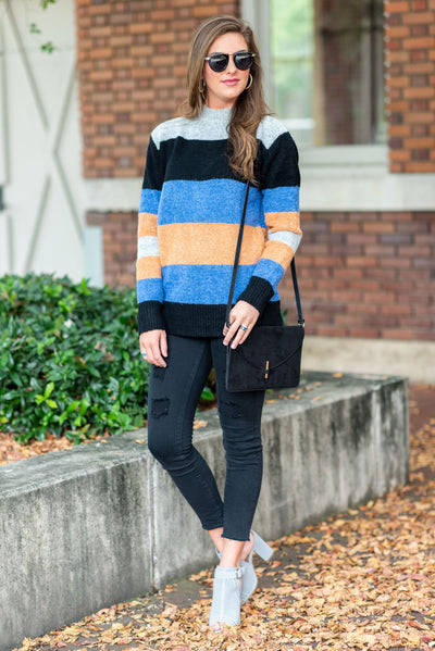 On Your Own Time Sweater, Black-Multi