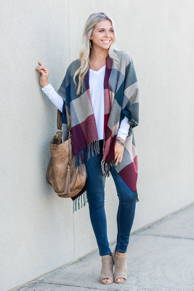Chat By The Fire Poncho, Burgundy-Navy