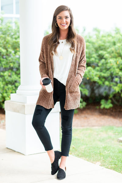 True To Warm Cardigan, Khaki