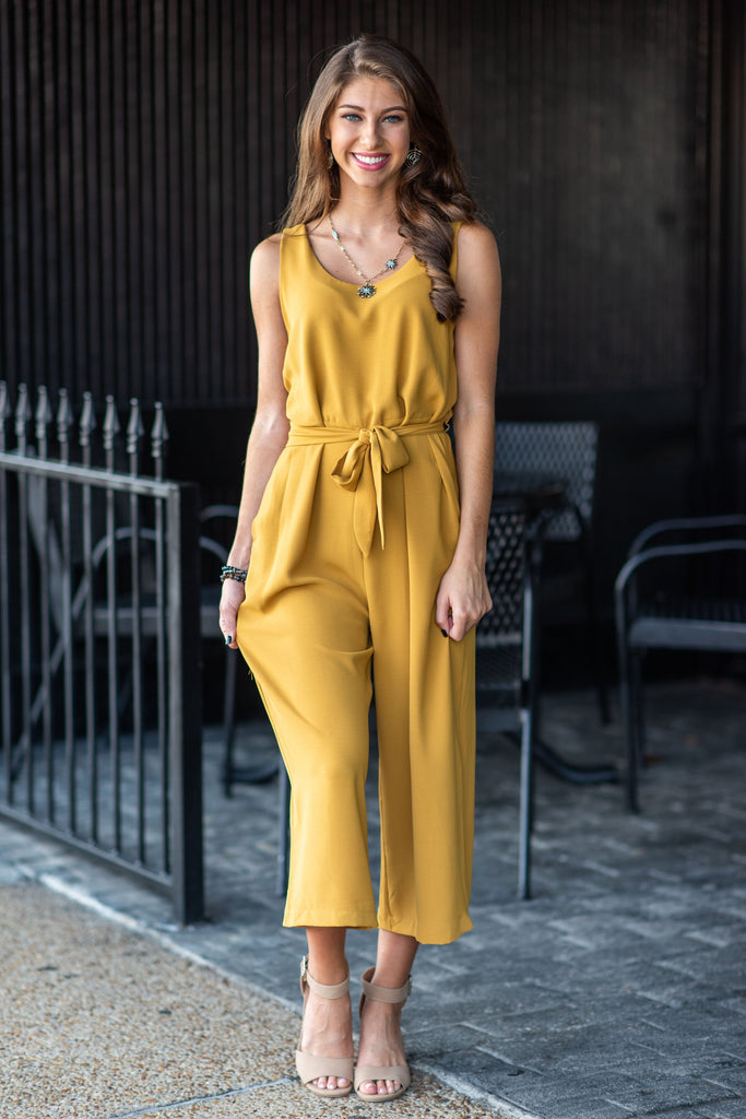 jumpsuit, bottoms, sleeveless, pants, long, tie waist, fall, winter, cute, gameday, solid, yellow, mustard, ankle length