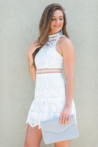 All Eyes Always On You Dress, White