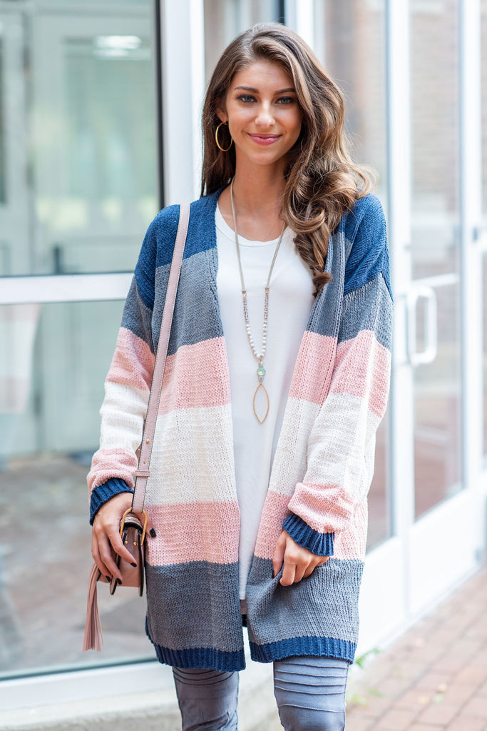 Hold You So Close Cardigan, Mauve-Navy