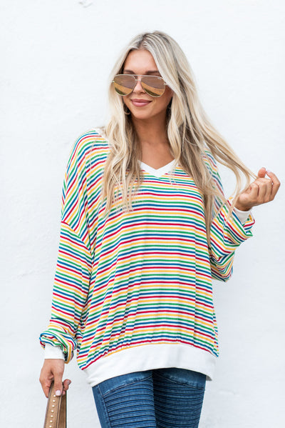 Color Run Top, White-Multi