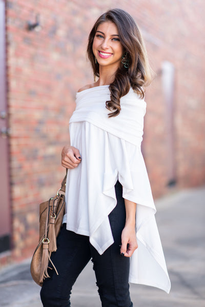 The Beauty In Ease Poncho, White