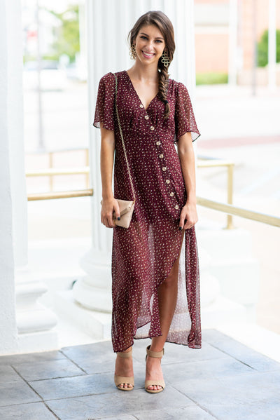 Wander The World Midi Dress, Wine
