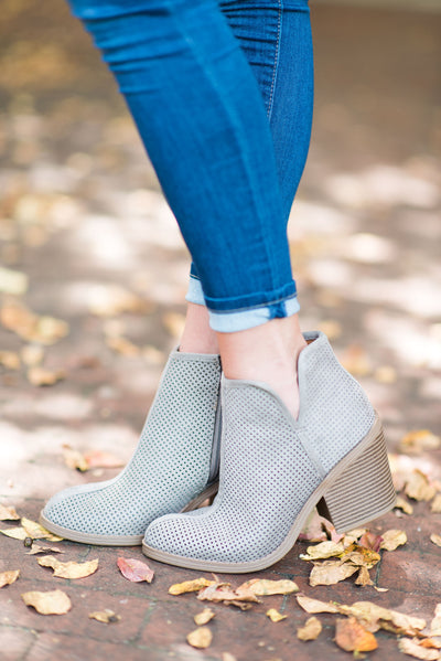 What A Looker Booties, Light Gray