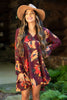 dress, casual, fall, winter, long sleeve, floral, flowers, wine, red, short, above knee, flowy, v neck