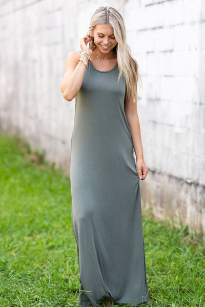 Z Supply: The High Slit Maxi Dress, Ash Green
