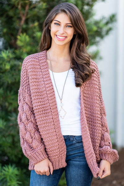 Looking For You Cardigan, Mauve