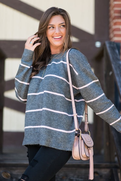 Let's Get Toasty Sweater, Heather Gray-Pink