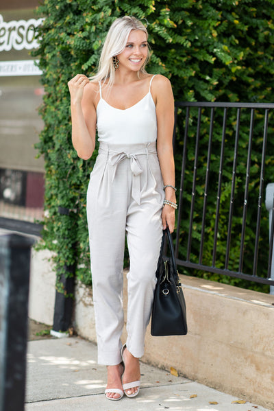 Follow The Leader Jumpsuit, Taupe