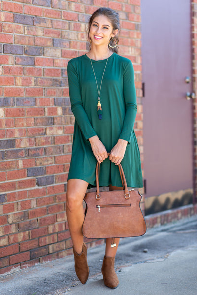 Not A Care In The World Piko Dress, Forest Green