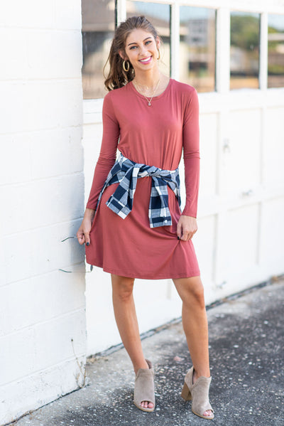 Not A Care In The World Piko Dress, Rust