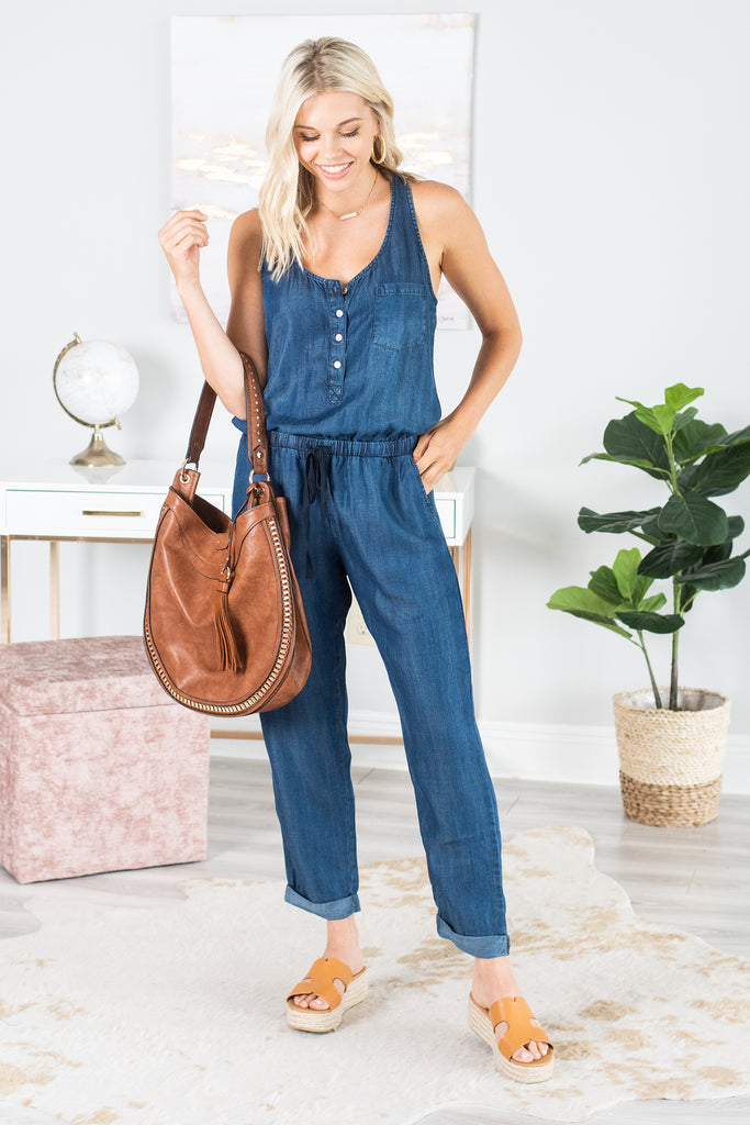 Play By Your Own Rules Jumpsuit, Midnight Wash